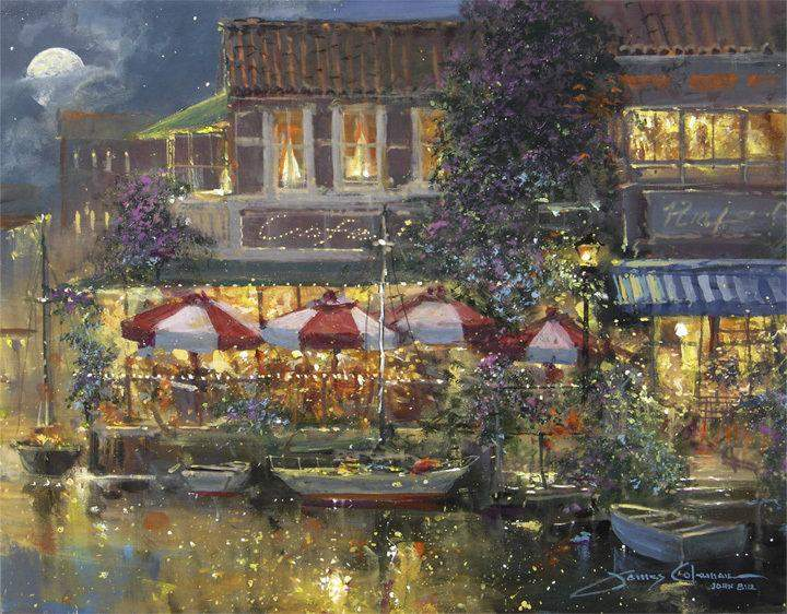 Harbor Cafe by James Coleman (matted print)