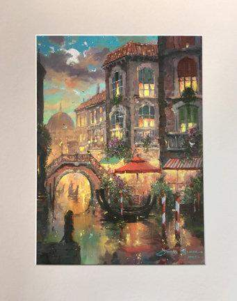 Immersed In Venice Romance by James Coleman (matted print)