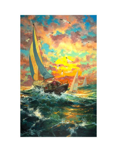 Sailing Into The Sun by James Coleman (framed LE canvas giclee)