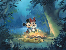 Load image into Gallery viewer, Mickey Mouse and Minnie ''Family Camp Out'' by Rob Kaz, Giclée on Canvas, Disney Treasure
