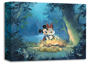 Mickey Mouse and Minnie ''Family Camp Out'' by Rob Kaz, Giclée on Canvas, Disney Treasure
