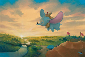 ''Flight Over the Big Top'' by Rob Kaz, Giclée on Canvas, Disney Treasure, Dumbo