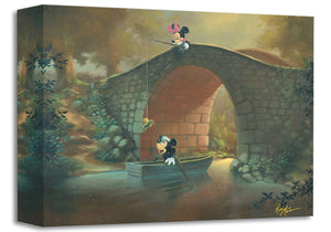 Mickey Mouse & Minnie ''Hooked on You'' by Rob Kaz, Giclée on Canvas, Disney Treasure