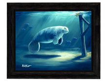 Load image into Gallery viewer, Curious Manatee by Rob Kaz (framed LE canvas giclee)
