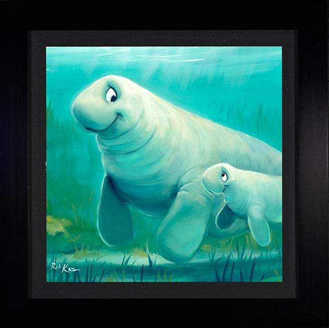Mother Daughter Swim by Rob Kaz (framed metal print)