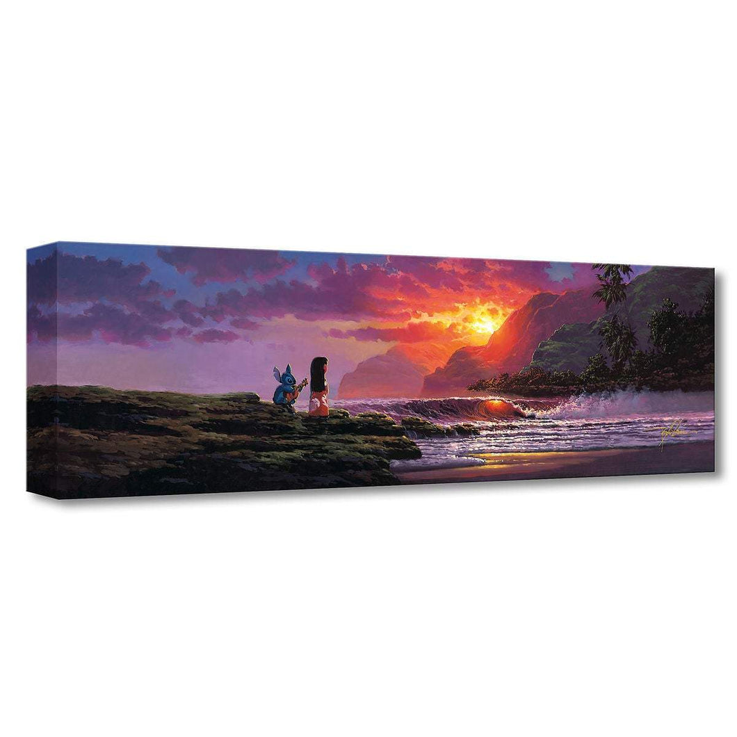 Lilo & Stitch ''A Song At Sunset'' by Rodel Gonzalez, Giclée on Canvas, Disney Treasure
