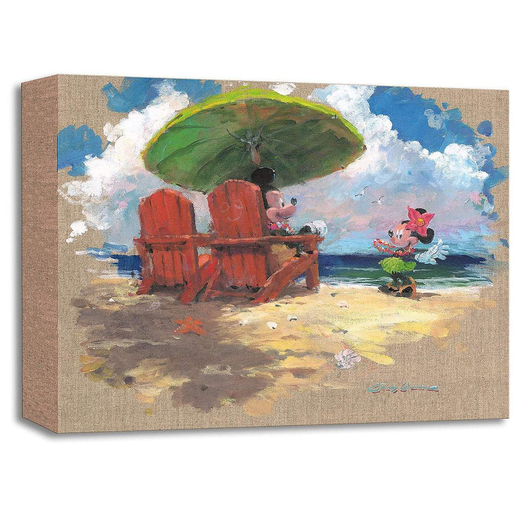 Mickey Mouse & Minnie ''Shorefront Hula'' by James Coleman, Giclée on Canvas, Disney Treasure