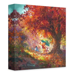 Winnie The Pooh ''Autumn Leaves Gently Falling'' by James Coleman, Giclée on Canvas, Disney Treasure