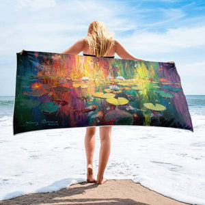 Soft Light on the Pond Towel by James Coleman