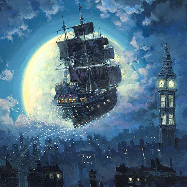 Sailing To The Moon by Rodel Gonzalez (Disney metal print)