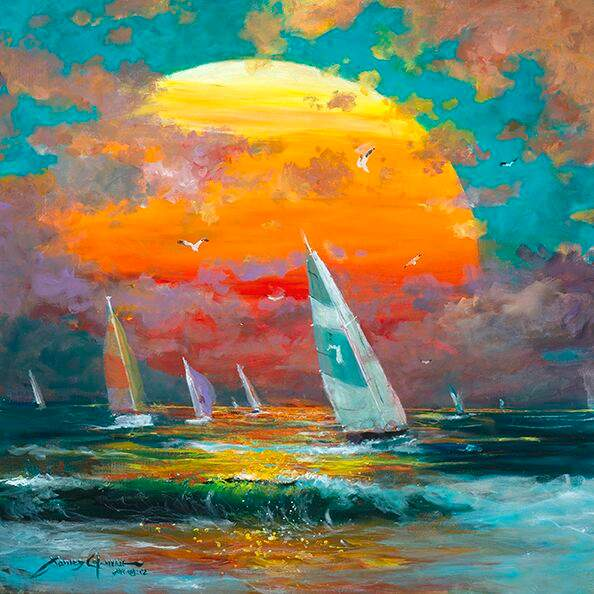 Sailing Into The Sunset by James Coleman (metal print)