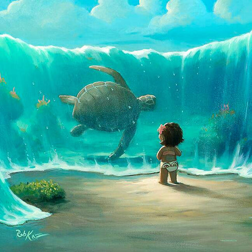 Moana's New Friend by Rob Kaz (Disney metal print)