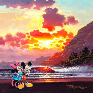 Mickey & Minnie At Sunset by Rodel Gonzalez (Disney metal print)