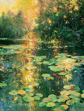 Load image into Gallery viewer, Sunset Lily Pond by James Coleman (wrapped canvas collectible)