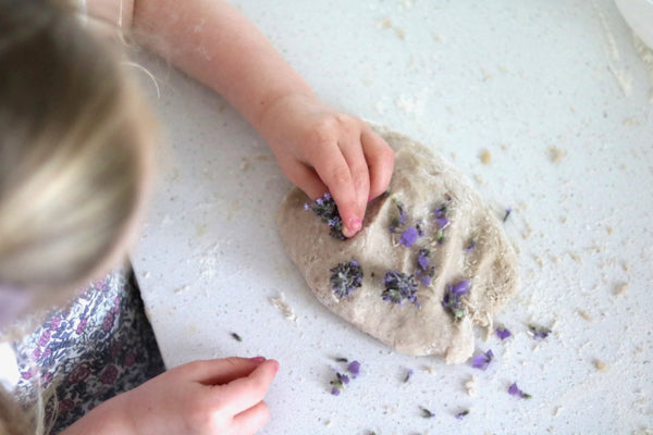 Botanically Dyed Lavender Essential Oil sensory Play dough Recipe DIY kids Project
