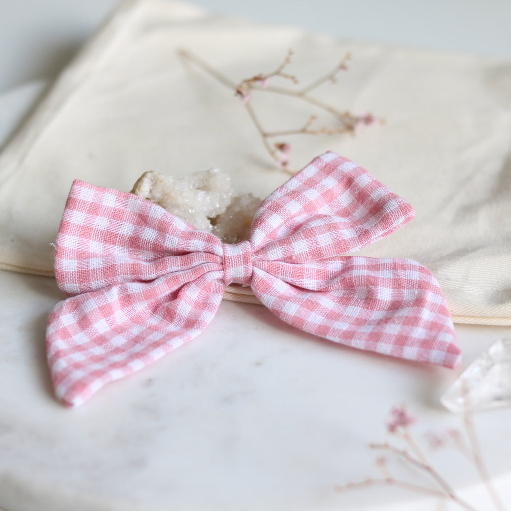 Gingham Fabric Hair Bow