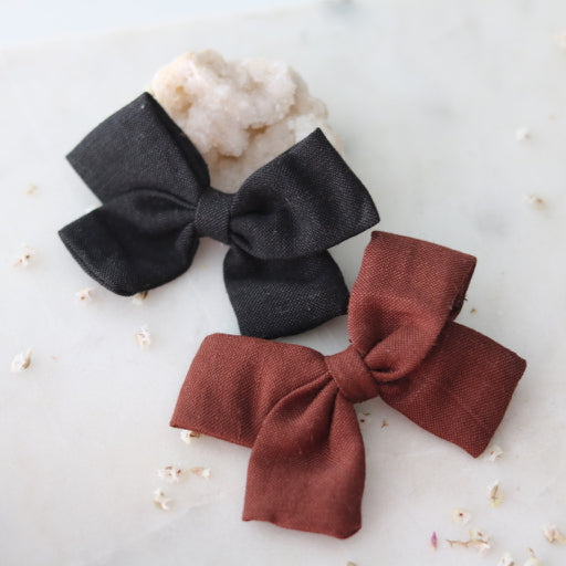Sophie Linen Hair Bows (Black & Burgundy)