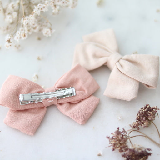 Sophie Linen Hair Bows (Ivory & Pink)