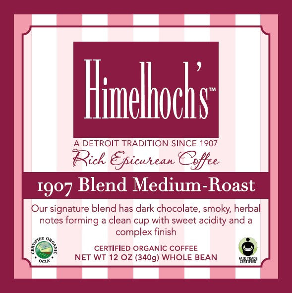 Himelhochs 1907 blend coffee beans, label. Hand made by coffee lovers for coffee lovers!