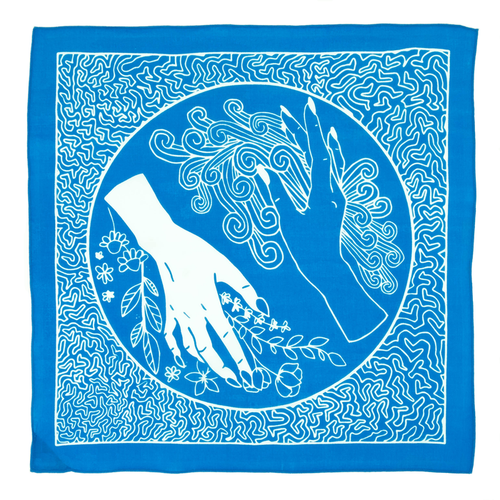 Bandits 100% cotton bandana - Flow & Kindness with turquoise & white design.  Fair Trade products.