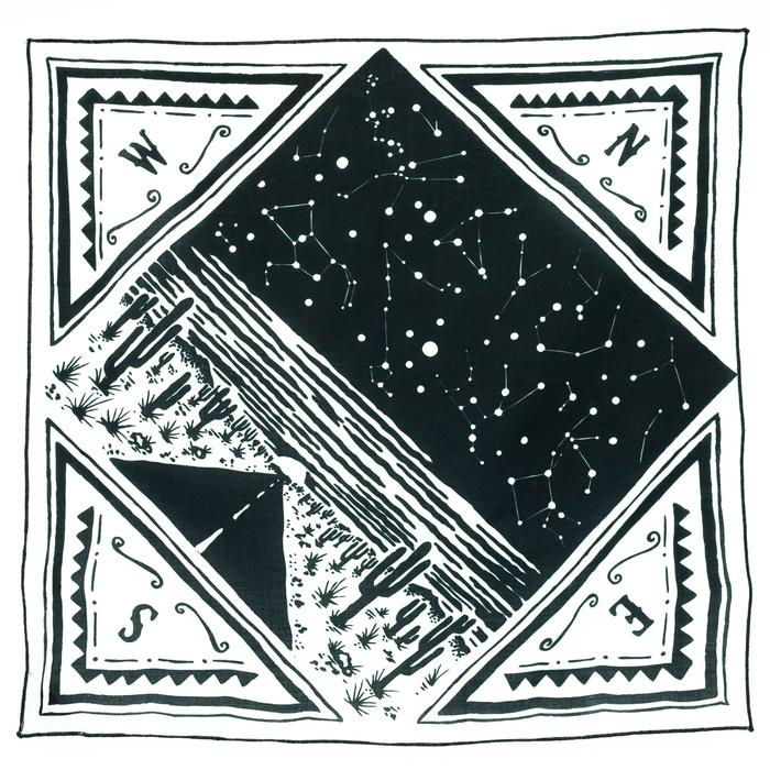 Bandits 100% cotton bandana - Freedom Is with black & white western desert design. Fair Trade products.