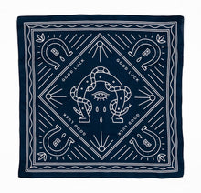 Load image into Gallery viewer, Bandits 100% cotton banadana - Good Luck. Navy blue with white horse design. Fair Trade products.