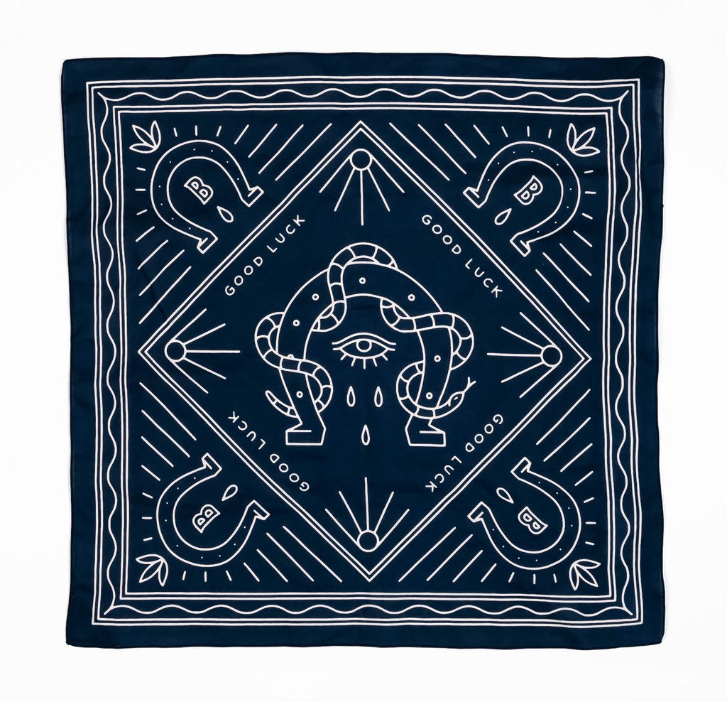 Bandits 100% cotton banadana - Good Luck. Navy blue with white horse design. Fair Trade products.