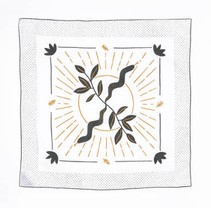 Bandits 100% cotton banadana - Got Snaked. White with black & gold design. Fair Trade products.
