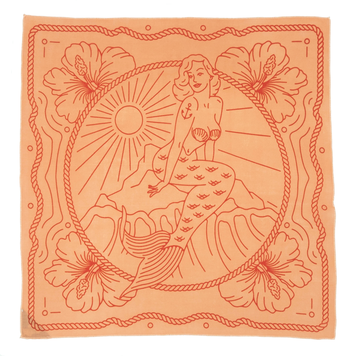 Bandits 100% cotton bandana - Sailor's Grave in light & dark orange with mermaid in the center design. Fair Trade gifts.