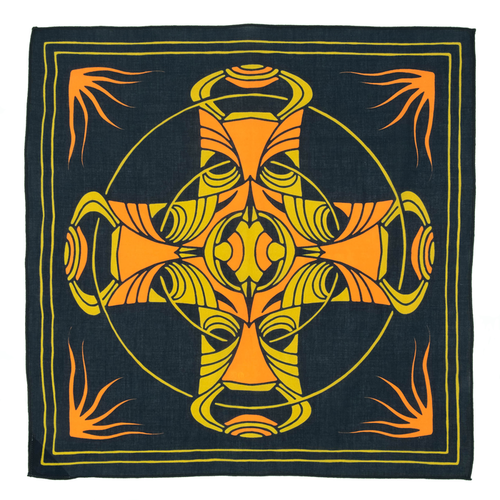 Bandits 100% cotton bandana - Seasons black, gold, & yellow cross design.  Fair Trade products.