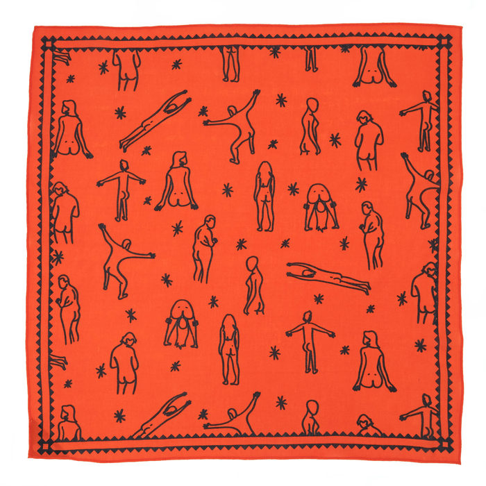 Bandits 100% cotton bandana - Summer Butts red with black summer fun figures.  Fair Trade products.