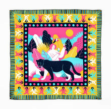 Load image into Gallery viewer, Bandits 100% cotton bandana - Balaam od Luck. Beautiful yellow, turquoise, pink & navy blue design. Fair Trade products.