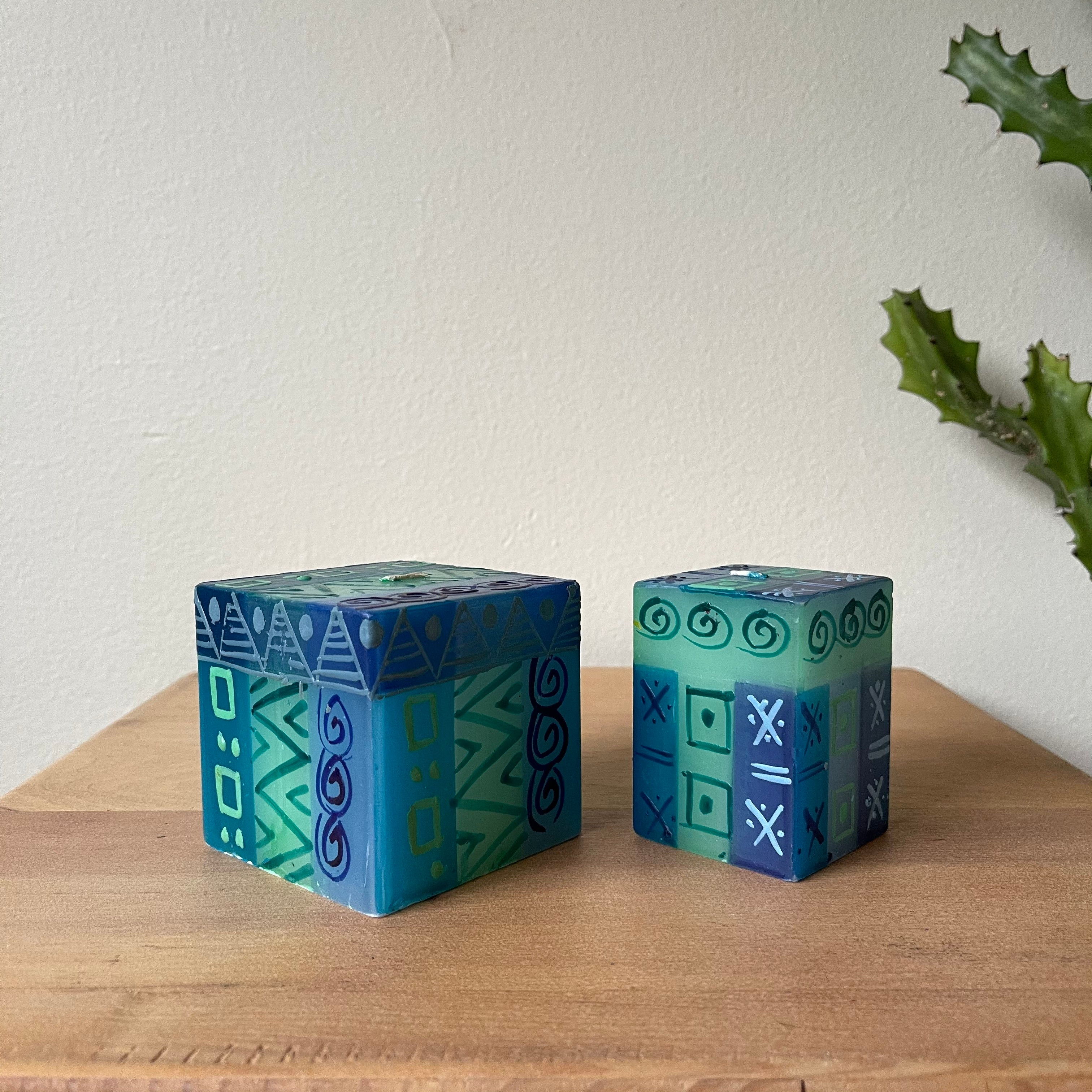 Handpainted Candles - Blue & Green