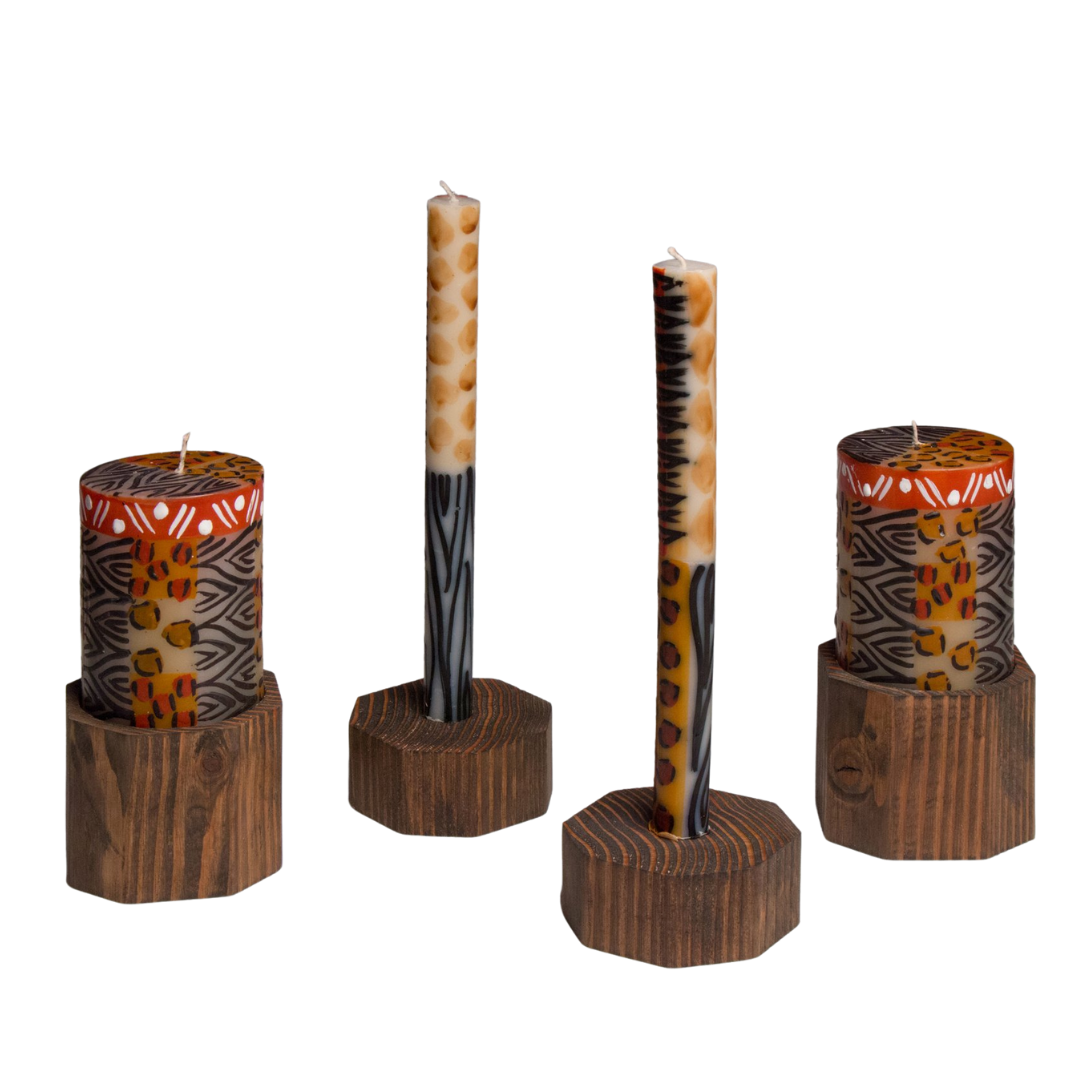 Hand crafted pillar candles & taper candles holder in dark reclaimed wood. Fairly traded.