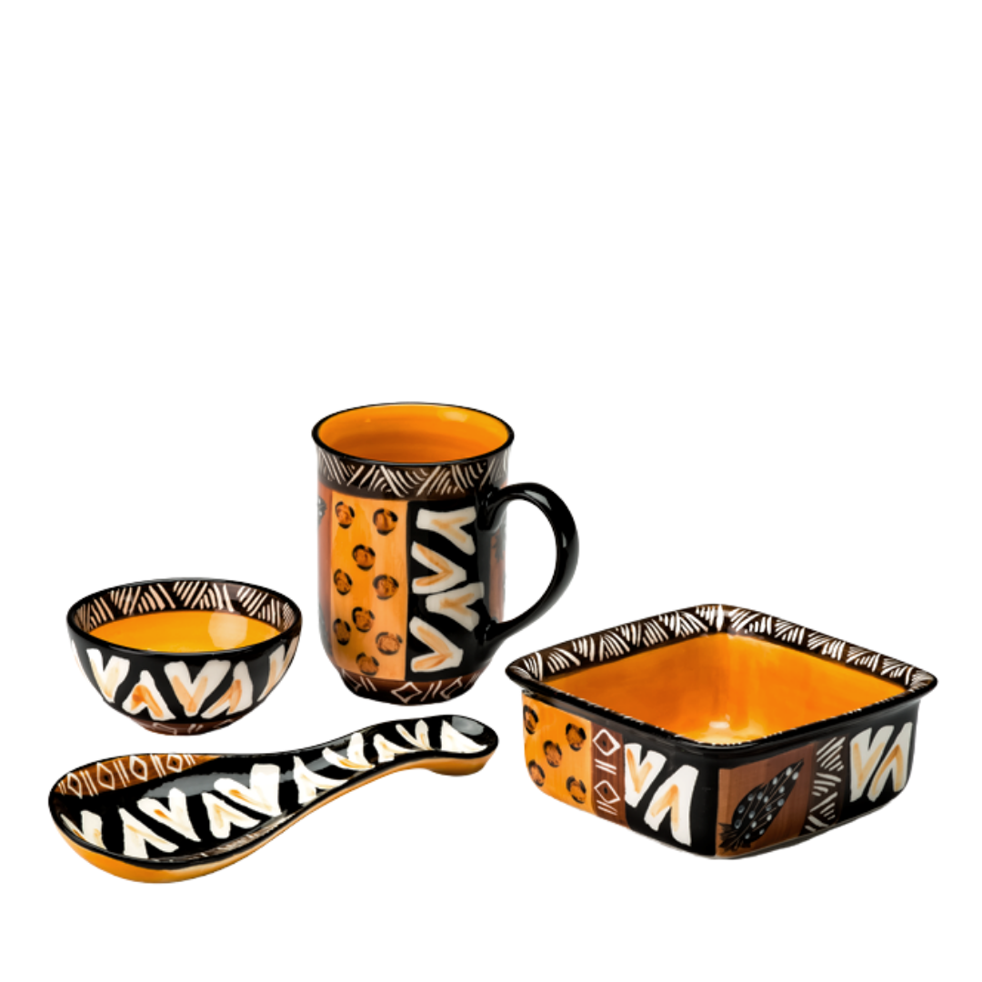 Animal Print hand made ceramics from South Africa. Fair trade. Microwave and dishwasher safe.