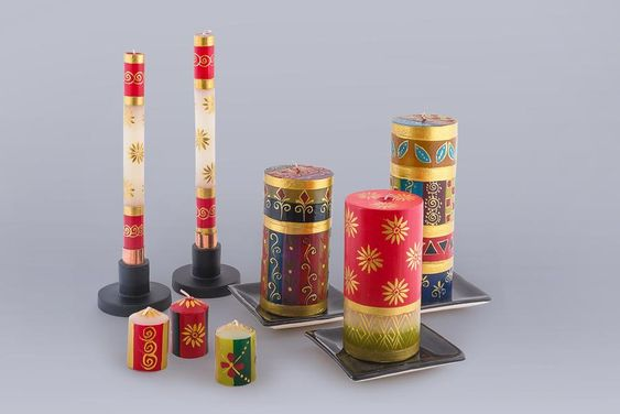 Handpainted Candles - Christmas