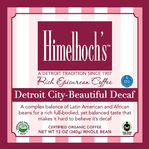Himelhochs Detroit City Beautiful DECAF blend coffee hand roasted in Detroit by coffee lovers for coffee lovers. fair trade & organic