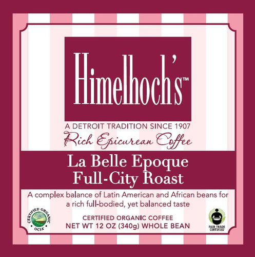 Himelhochs La Belle Epoque Full-City Roast coffee beans made by coffee lovers for coffee lovers. fair trade & organic