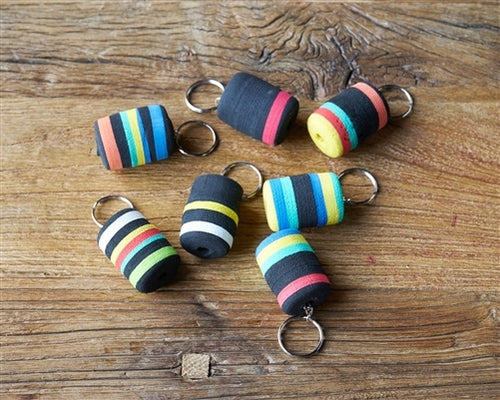 Colorful floating key chains made from recycled and scrape material from key chains