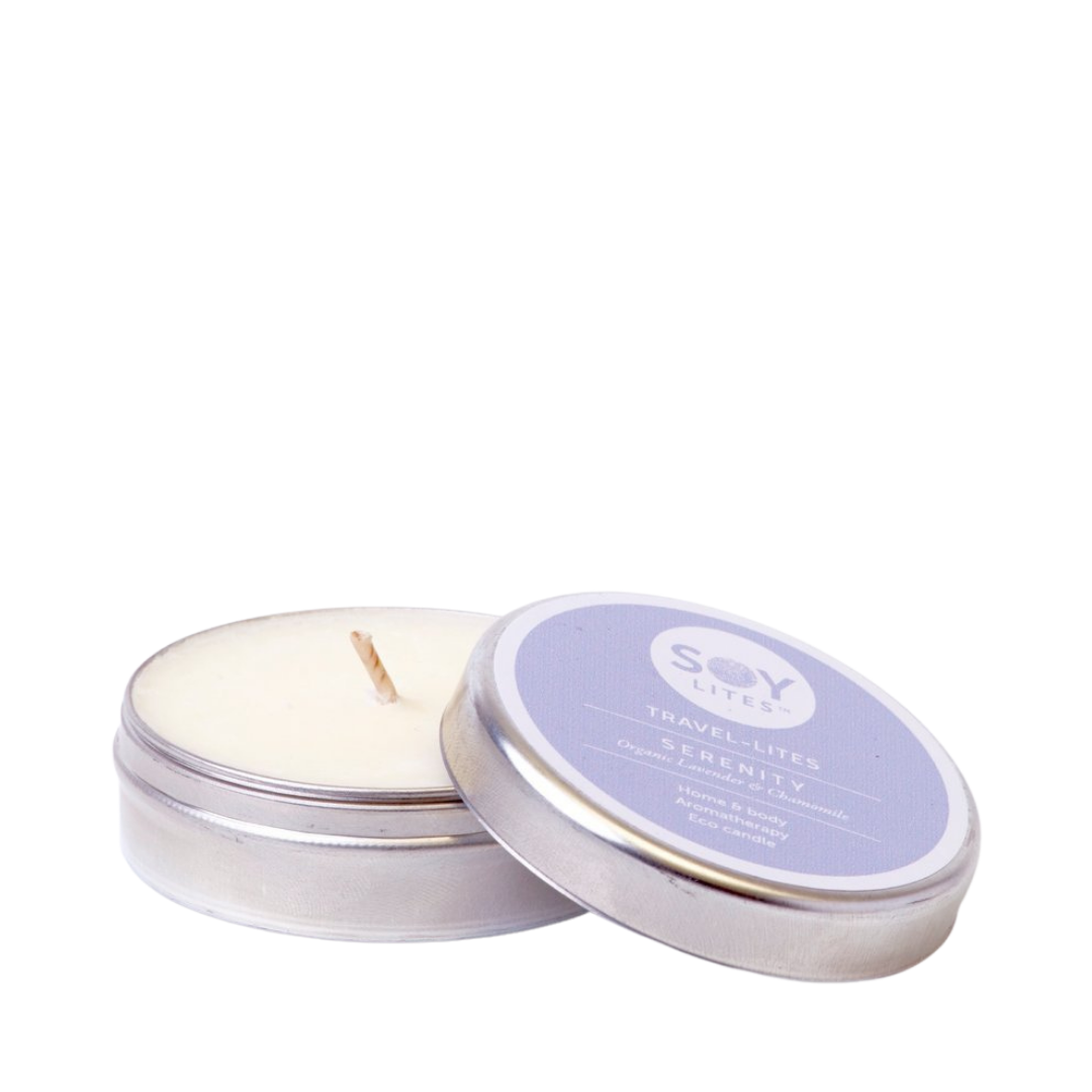 SoyLites Travel Lites Serenity with Organic Lavender & Chamomile scent. Home & Body Aromatherapy. Eco Candle. Tin candle holder with pop top, and Lavender label. Cotton Wick.