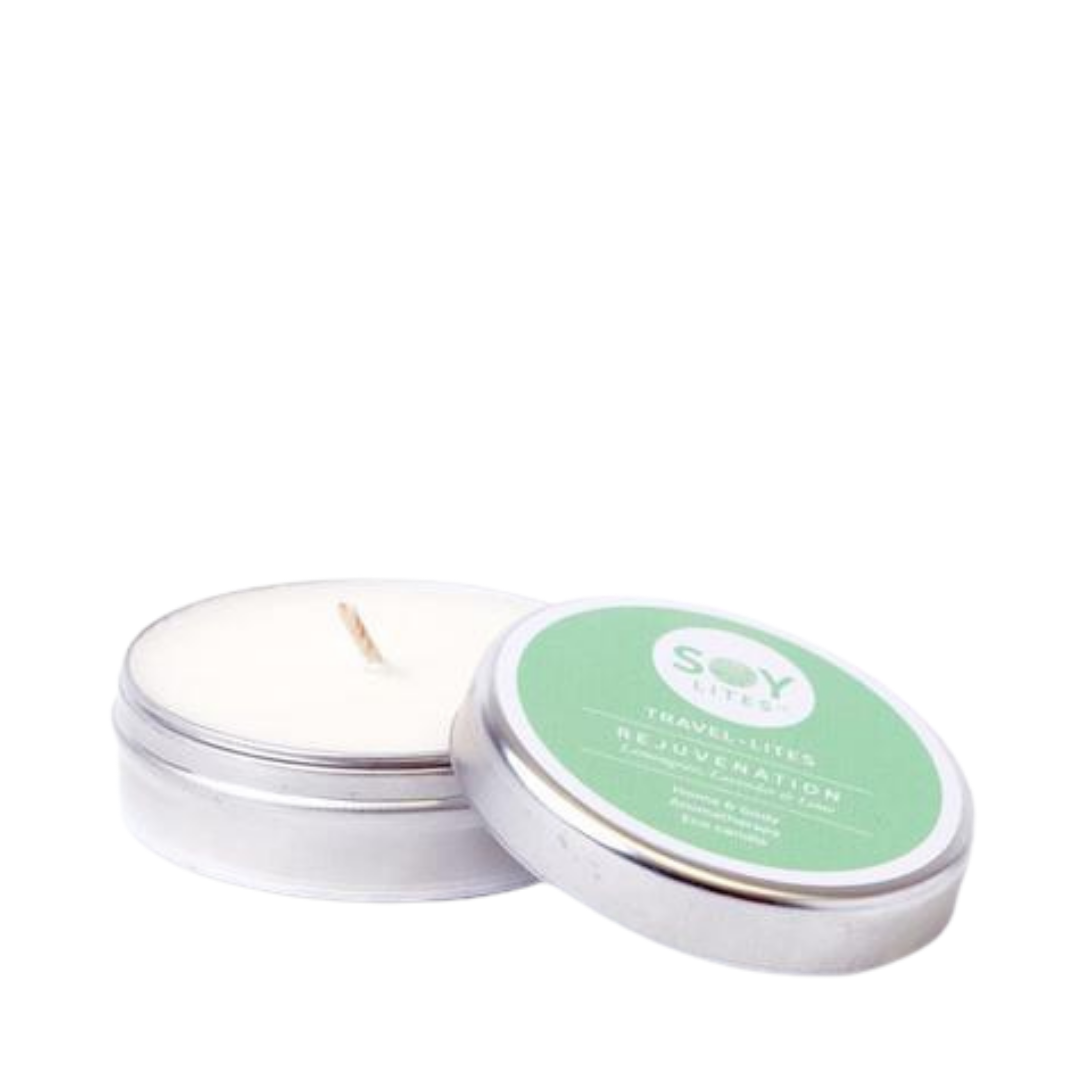 SoyLites Travel Lites Home & Body Aromatherapy. Eco Candle. Rejuvenation. Lemongrass, lavender, and lime. Kelly green color packaging in tin can with pop top.