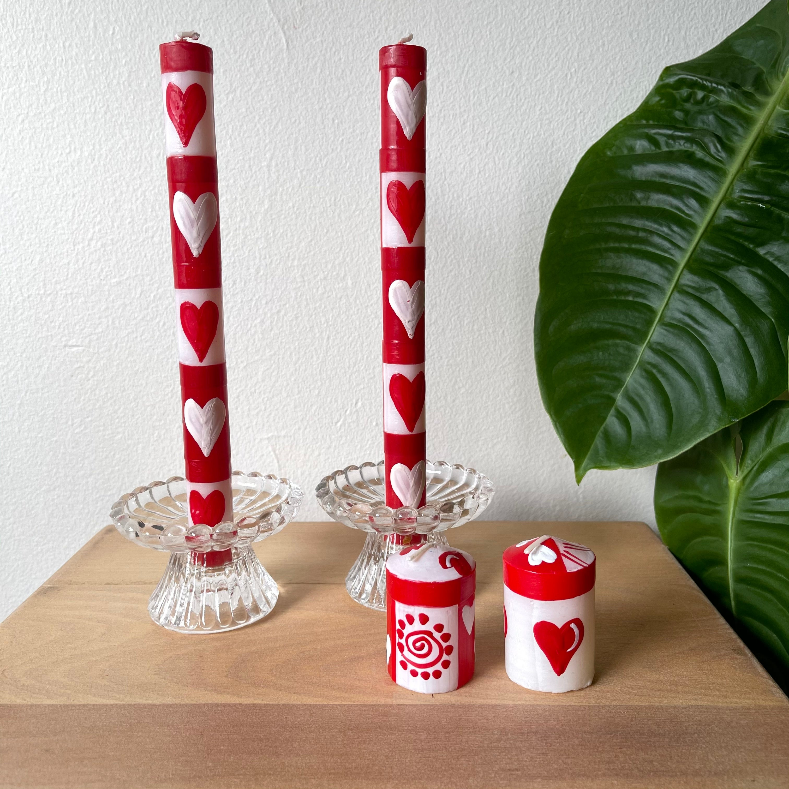 Handpainted Candles - Valentine's Day