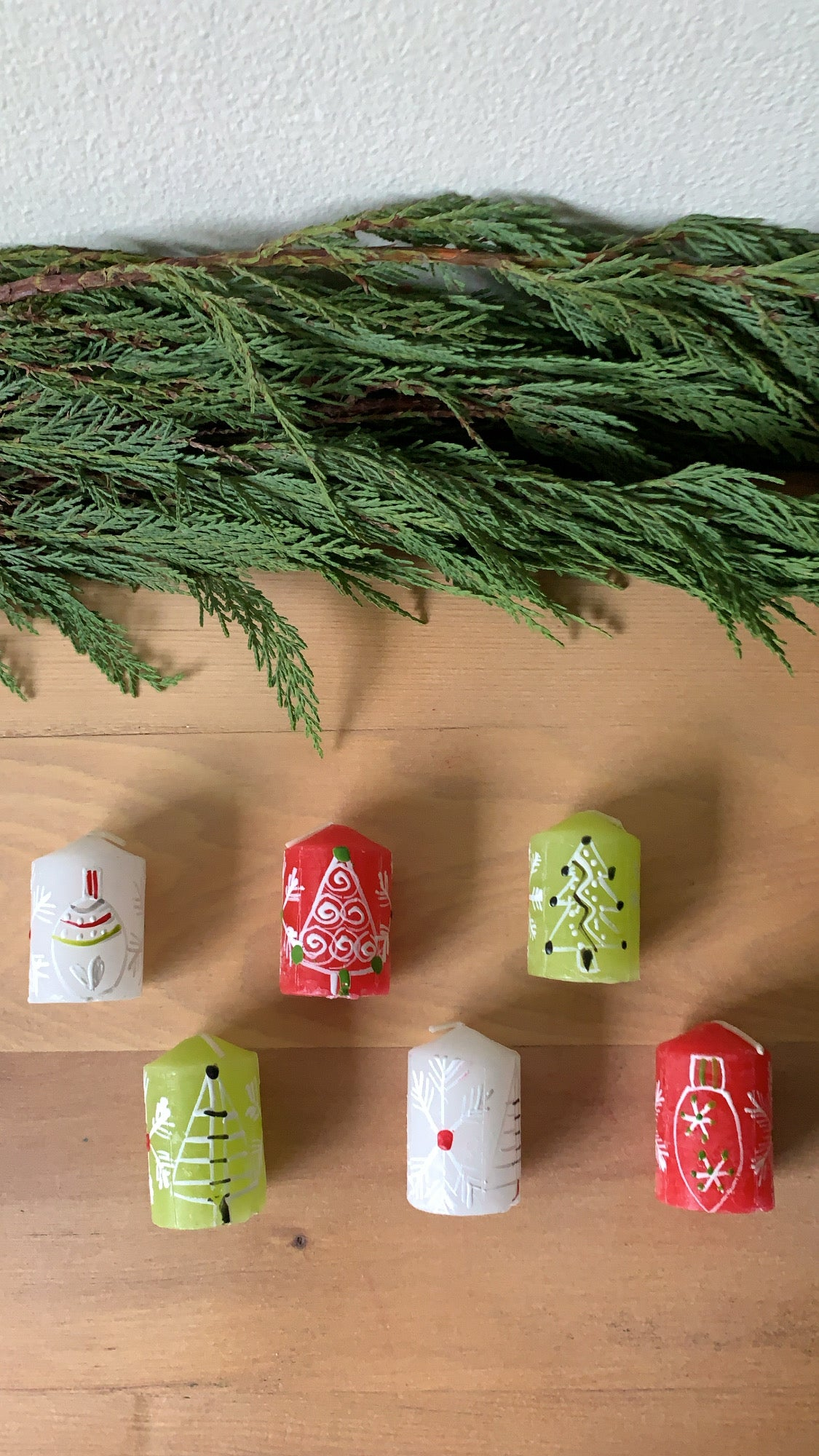 Handpainted Candles - Whimsy Christmas