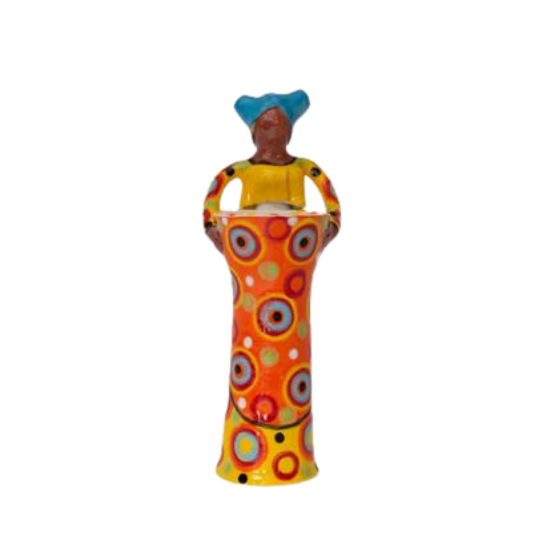 Hand made ceramic vase with an African Woman extending the hands of friendship. Bright Colors. Fair Trade.