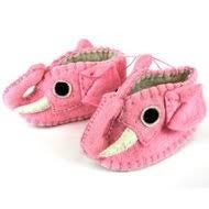 Zooties - Baby Booties hand made from felt to look like Pink Elephants! Fair Trade Product.