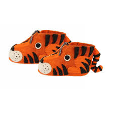 Zooties - Baby Booties hand made from felt to look like little tigers. Fair Trade Gifts.