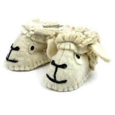Zooties - Baby Booties hand made from felt to look like little lamb heads!   Fair Trade Product.