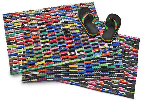 Colorful and cleaver!  These door mats are made from recycled flip flop form rubber. 3 sizes. Fair Trade gifts.