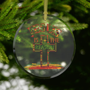 Jesus Is The Reason For The Season Kente Christmas Glass Ornament