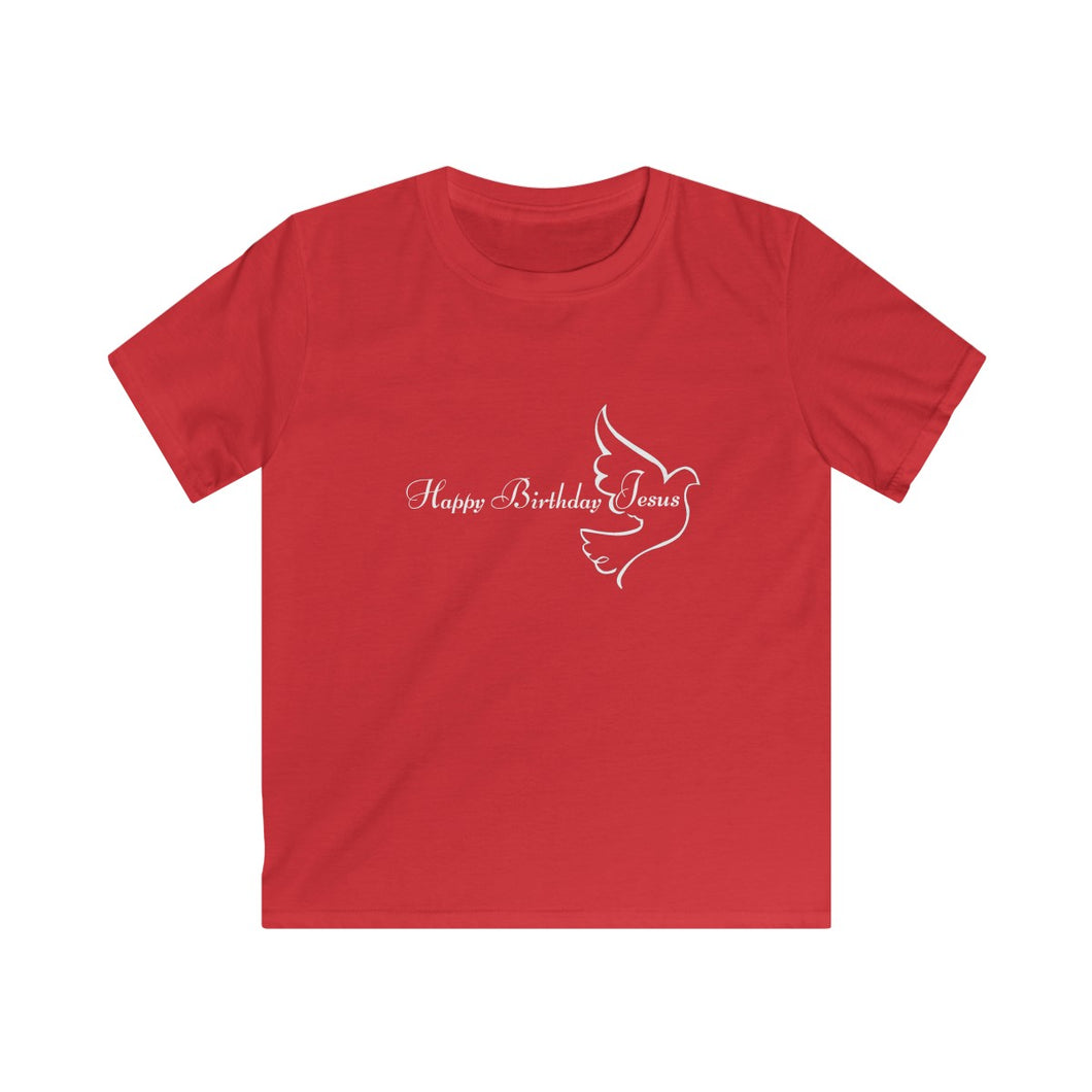 Happy Birthday Jesus Kids Christian T-Shirt in red with a dove